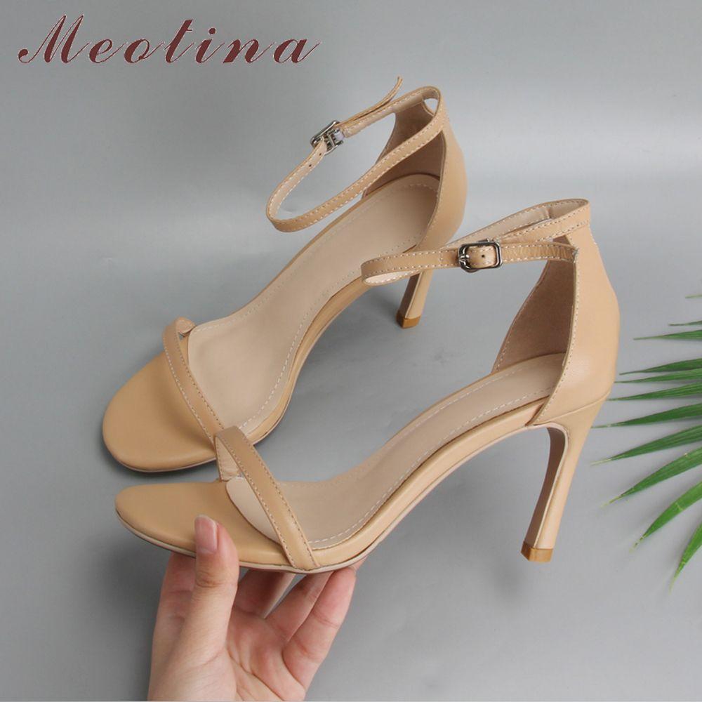 Meotina Designer chaussures en cuir véritable talons hauts sandales d'été en peau de mouton bride à la cheville mince sandales à talons hauts dames chaussures de fête