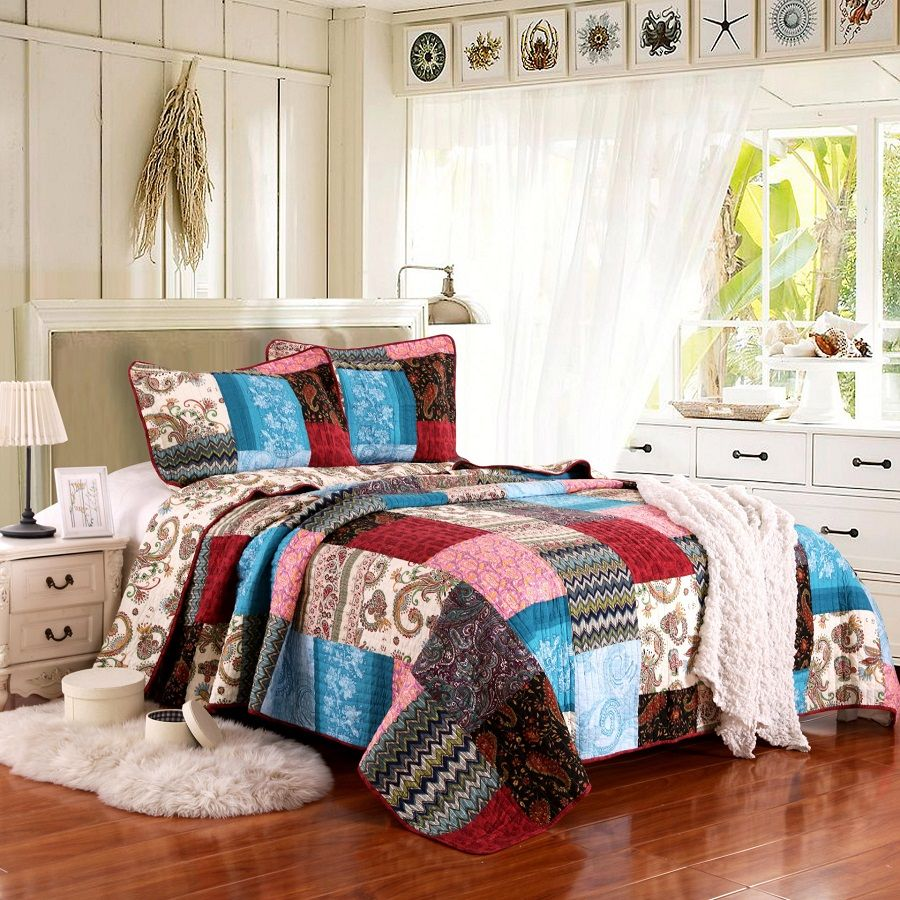 CHAUSUB Vintage Handmade Patchwork Quilt Set 3PC Washed Cotton Quilts Quilted Bedspread for Bed Covers Pillow Coverlet King Size