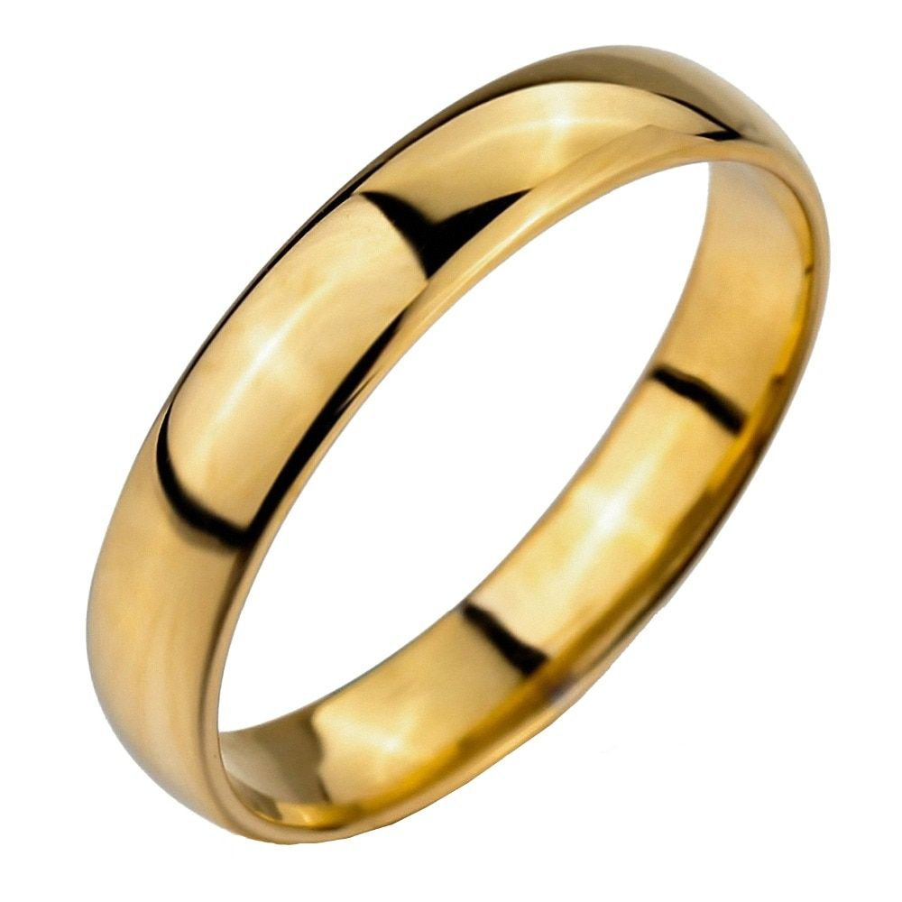 5mm Simply Classic Gold Tungsten Carbide Engagement Wedding Rings Band Comfort Fit Couple Rings for <font><b>Lovers</b></font>