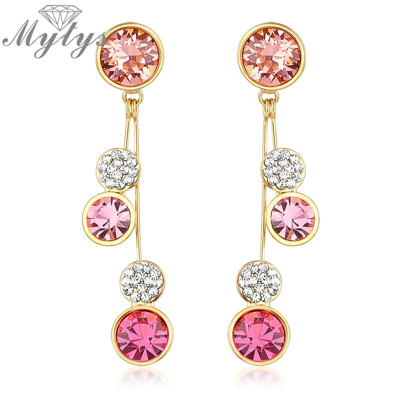 NEW Round Crystal Drop Dangle Earrings long GP Gift E624 E625 E626 E627