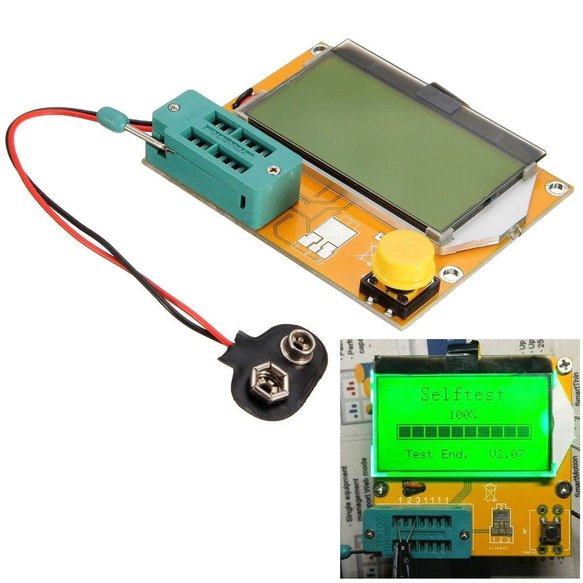 Hot 7X 6cm LCD Mega328 Transistor Tester Diode Triode Capacitance ESR Meter NPN L/C/R Testers Transistors Diodes