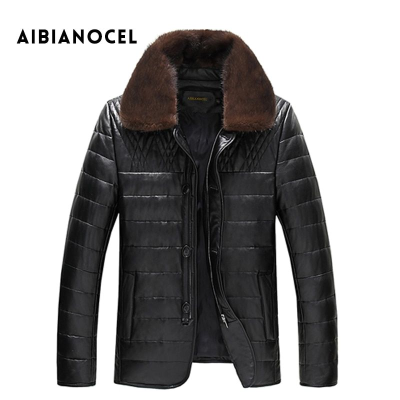 AIBIANOCEL Winter New Style Leather Down Coat Men Leather Jacket Thick Mink Collar Single Breasted Men's Jacket Leather