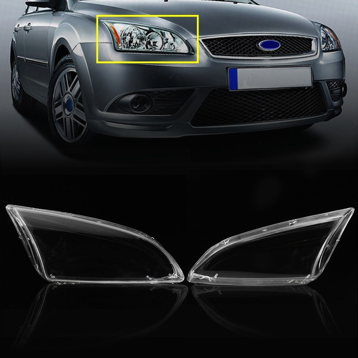 2Pcs Clear Left & Right Car Side Headlights Lens Lamp Hoods Cover Glasses For Ford For Focus 2005 2006 2007