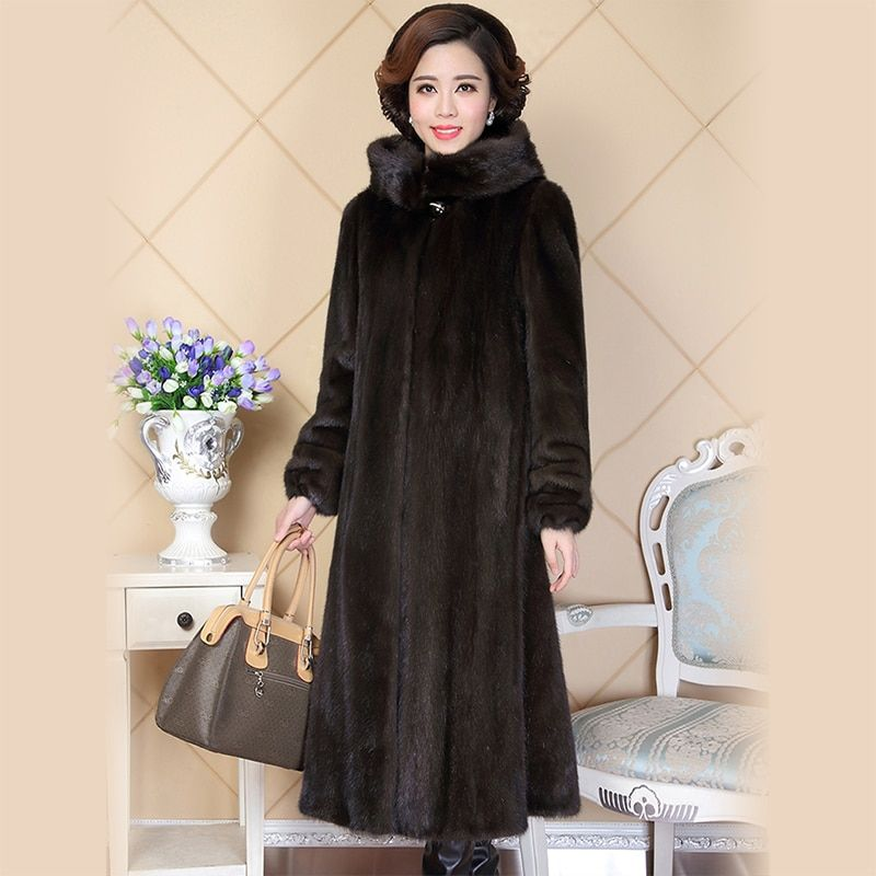 Nerazzurri real mink fur coat for women china full sleeve thick warm long genuine natural fur coats with hood plus size 5xl 6xl