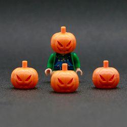 Blok Bangunan kota Blok Tutup Kepala Labu Oranye Labu Kepala Mini Aksesoris Angka Bricks Mainan Kompatibel LegoINGlys Teman-teman