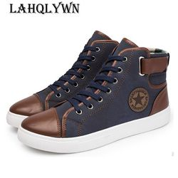 2017 New Arrive Men Causal Shoes Autumn Winter Front Lace-Up Leather Ankle Boots Shoes Man Casual High Top Canvas Men H29