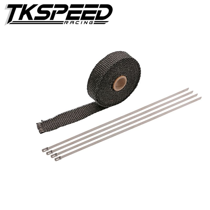 FREE SHIPPING CAR MOTORCYCLE Incombustible Turbo MANIFOLD HEAT EXHAUST THERMAL WRAP TAPE & STAINLESS TIES 1.5mm*25mm*5m