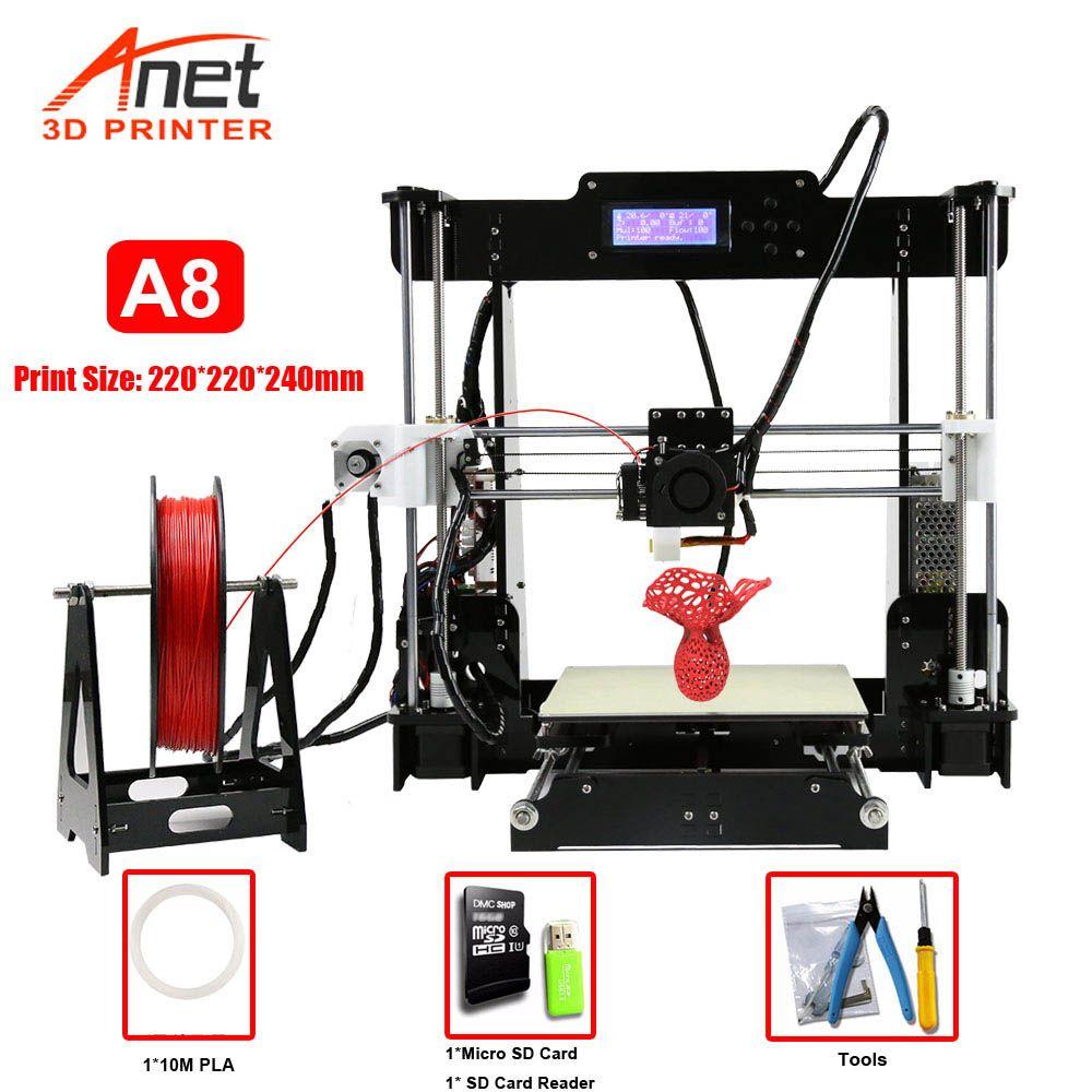 Fabrik Verkauf Anet A8 3D Drucker Druck Größe 220*220*240mm Offline Druck DIY Kit Cura Software tf-karte/USB/Online Anschlüsse
