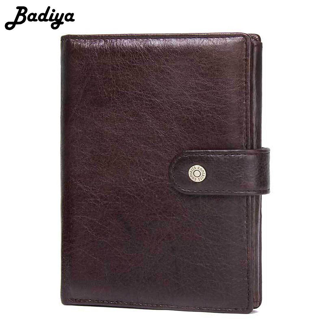 Genuine Leather Passport Cover Bifold Wallet Men Vintage Cowhide Purse Men Hasp Card Holder Luxury Brand Passport Case Clutch