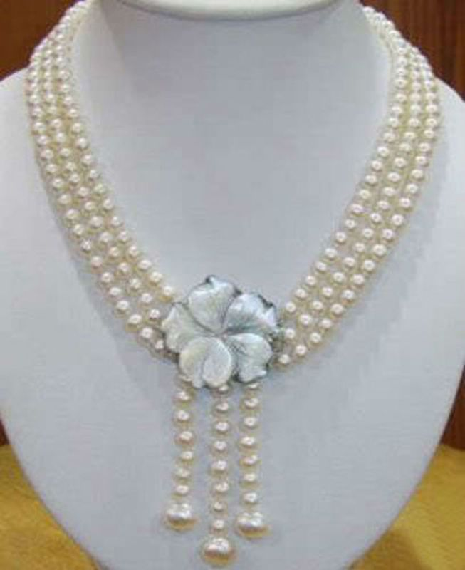 Brand New High Quality Fashion Picture Wonderful!7-8MM 3Rows Natural White Akoay Cultured Pearl Shell Clasp Necklace
