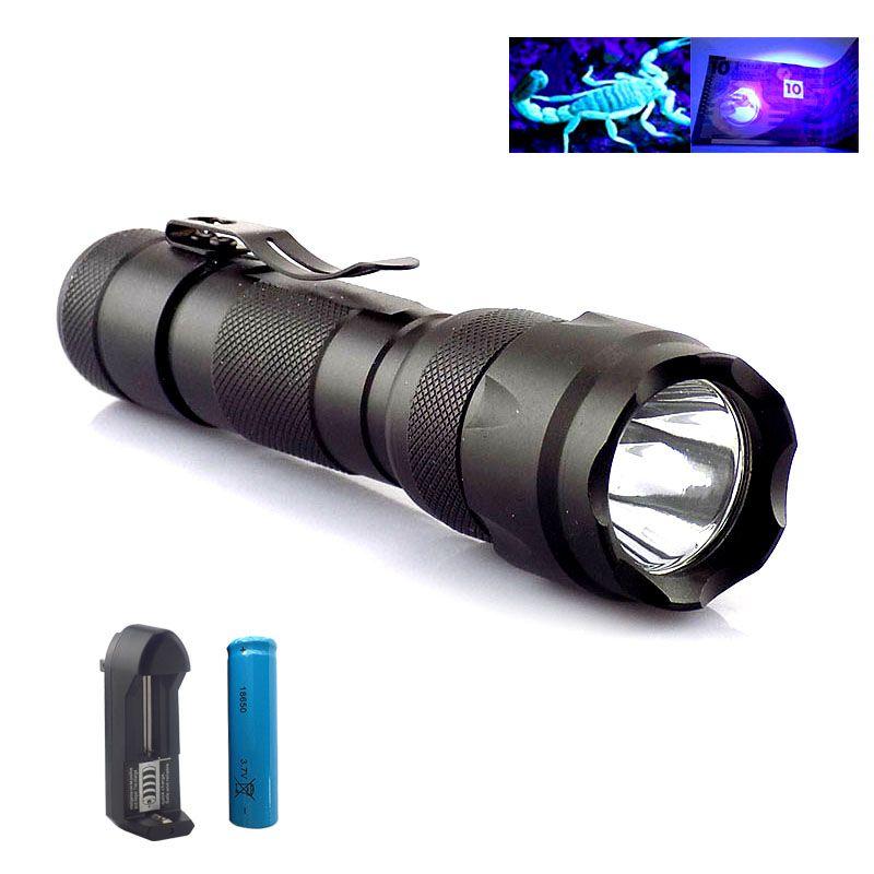 Lampe de poche Uv puissante Violet Linternas 395nm lampe torche Flash Ultra Violet lampe ultraviolette + 18650 batterie + chargeur