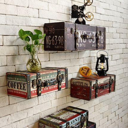 Vintage retro PU leather painting Luggage suitcase box home ktv bar pub decorative wall decoration