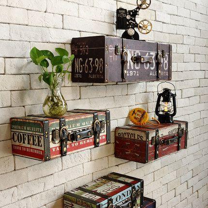 Vintage retro PU leather painting Luggage suitcase box home ktv bar pub decorative wall decoration