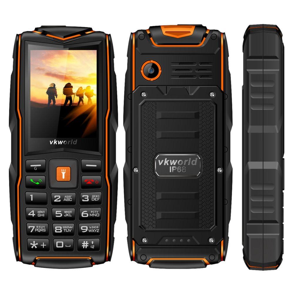 VKWorld New Stone V3 Waterproof Mobile Phone <font><b>IP68</b></font> 2.4 inch GSM FM Russian Keyboard 3 SIM Cards Slot 3000mAh Cellphone LED Light