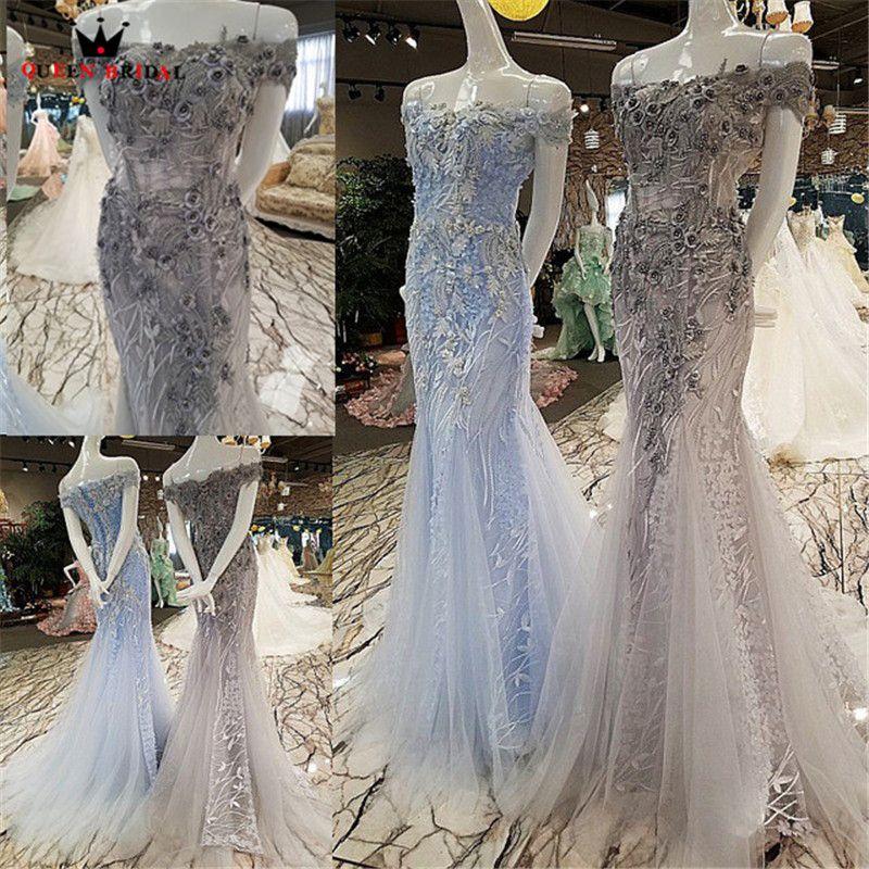 KÖNIGIN BRAUT Sexy Abendkleider Lange Blau Grau Meerjungfrau Tüll 3D Blumen Perlen Party Kleid Prom Kleid 2019 Robe De soiree BY10