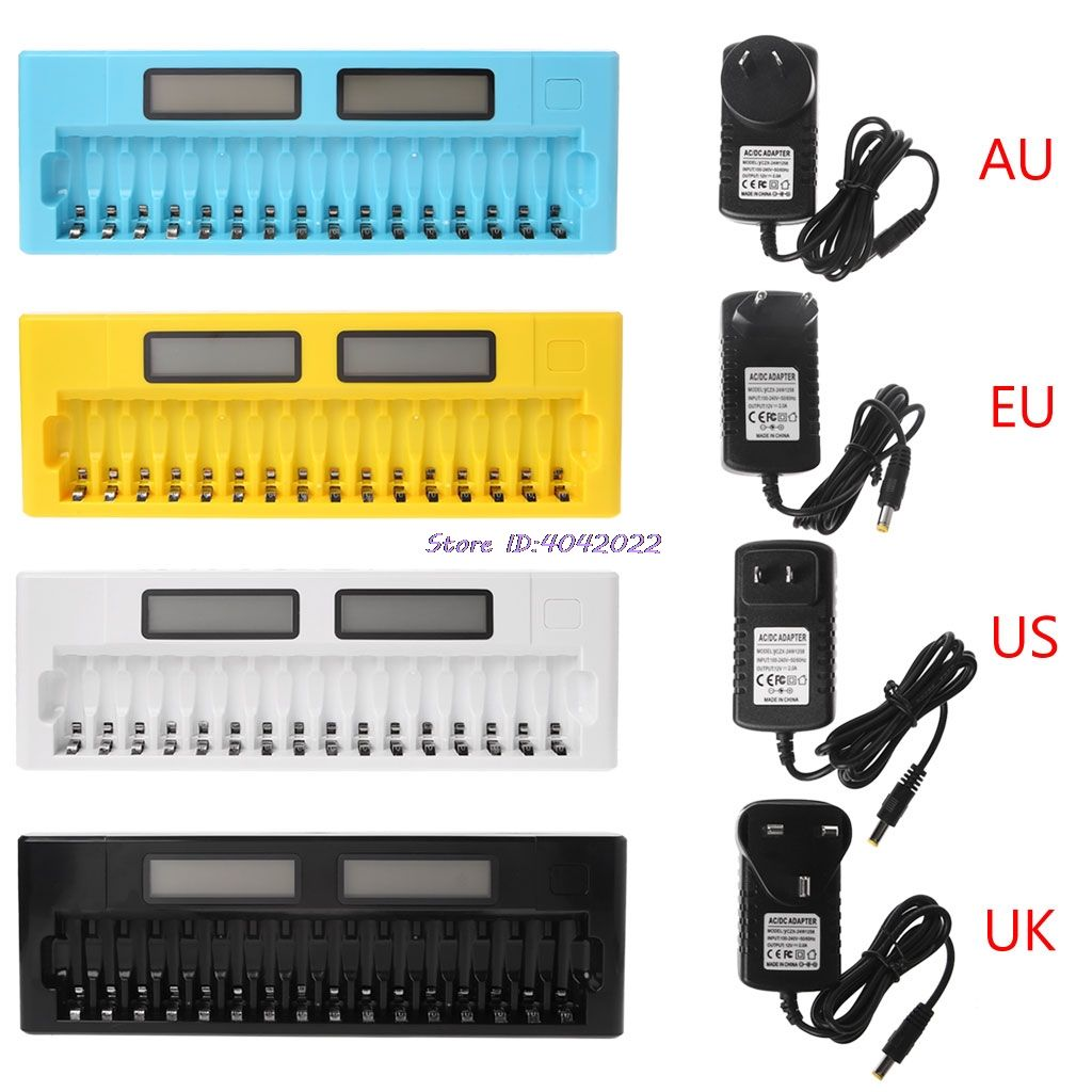 16 Slots LCD Intelligente Smart Batterie Ladegerät 1,2 v AA AAA Ni-Mh Ni-Cd Batterien