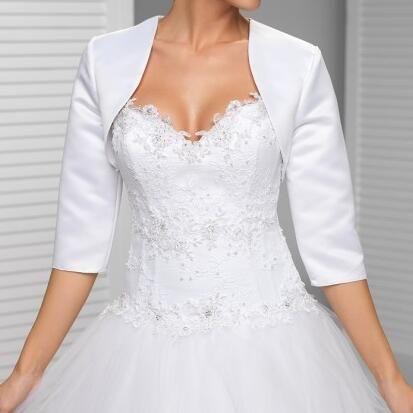Custom made Blanc Dans la manches veste de mariage Nouvelle Arrivée satin bolero vestes pour les robes de soirée Livraison gratuite De Mariée Veste