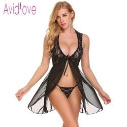 Avidlove Lingerie Sexy Hot Erotic camisón Baby Doll camisón mujeres Floral Lace Oepn frente Nightwear con G-string Exoti ropa