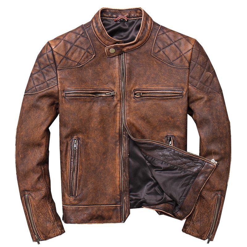 2019 Vintage Braun Männer Kurze Biker der Leder Jacke Plus Größe XXXL Echtem Rinds Frühling Slim Fit Motorrad Mantel FREIES VERSCHIFFEN