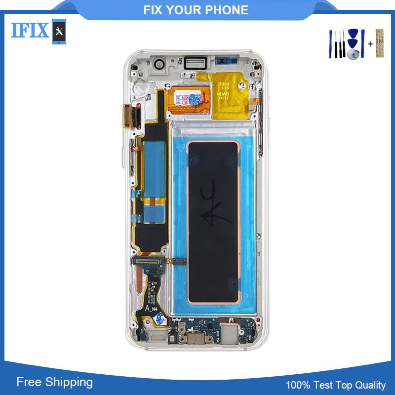 For SAMSUNG GALAXY S7 EDGE G935 G935F LCD Display Touch Screen Digitizer Assembly with frame bezel For S7Edge lcd with Tools