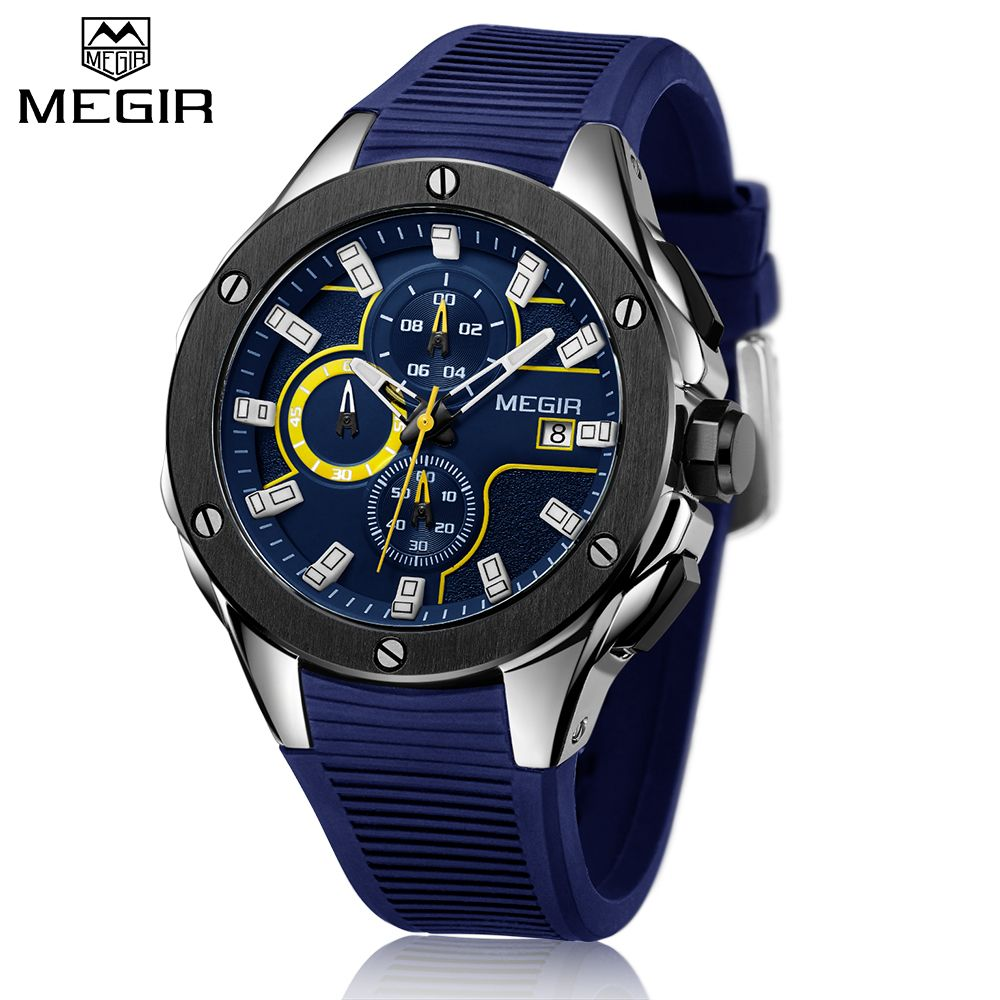 Top Brand Luxury MEGIR Men Sport Watch Chronograph Silicone Strap <font><b>Quartz</b></font> Military Big Dial Watches Clock Male Relogio Masculino
