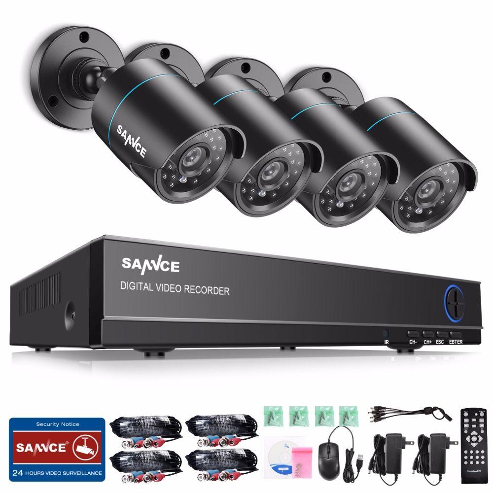 SANNCE 8CH 1080N DVR 720P CCTV System 4pcs 720P 1MP Security Cameras IR outdoor IP66 Video Surveillance kit motion detection