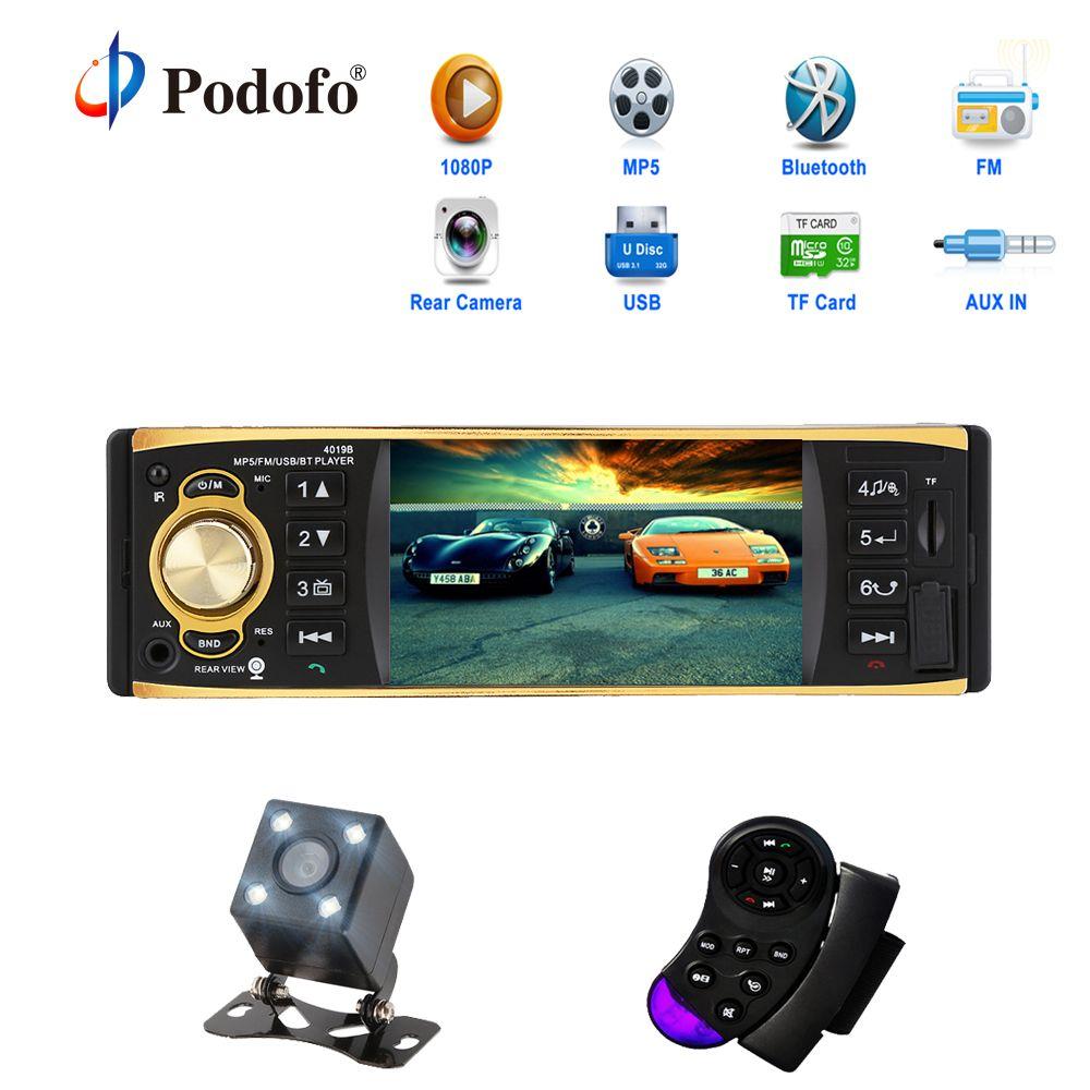 Podofo 4.1 pouce 1 Un Din Voiture Radio Audio Stéréo AUX FM Radio Station Bluetooth Autoradio avec Rétroviseur Caméra À Distance contrôle