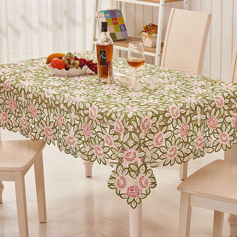 [WIT]130X175cm Rectangular Table Cloths European Style Tablecloth For Weddings Polyester Floral Embroidered Table Cloth 1PC