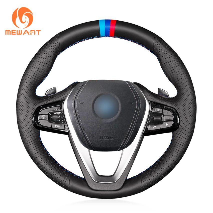 MEWANT Black Genuine Leather Car Steering Wheel Cover for BMW G30 530i 540i 520d 530e 2016-2018 G32 GT 630i 630d 2017-2018