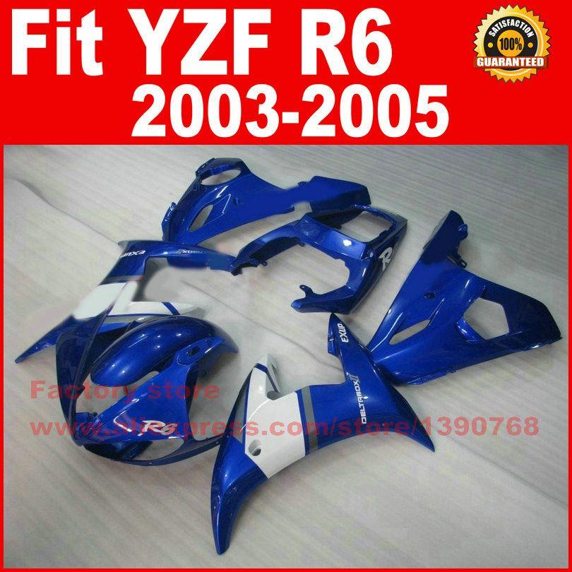 Custom Motorcycle body fairings kit for YAMAHA R6 2003 2004 2005 YZF R6 03 04 05 YZFR 600 blue white fairing bodywork part