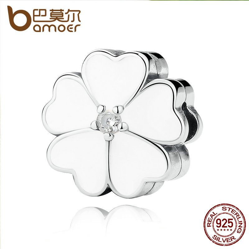 BAMOER 925 Sterling Silver WHITE PRIMROSE CLIP Charms for Charm Bracelet Women Beads Jewelry Making PAS288