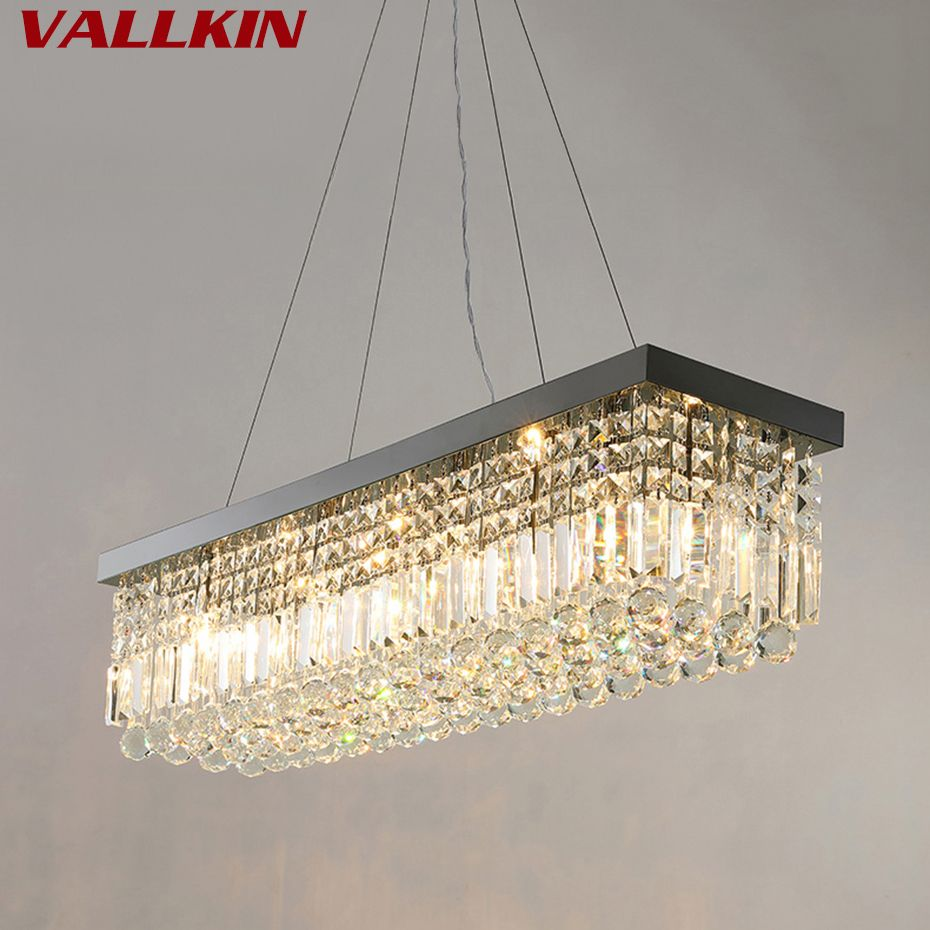 Rectangle LED Crystal Chandeliers Lighting Light Contemporary Hanging Lights Lamp Fixtures with L100*W25CM VALLKIN Lighting