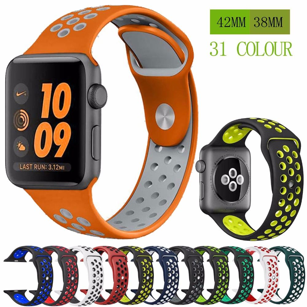 Sport Silicone strap band for Nike apple watch series 4/3/2/1 42mm 38mm rubber wrist bracelet adapter 40mm 44mm for iwatch band