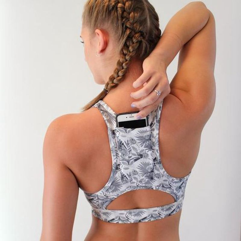 Women Sports Top Female with Phone Pocket Compression Push Up Underwear Sports Bra Sportswear Strap Printed Yoga Bra Top