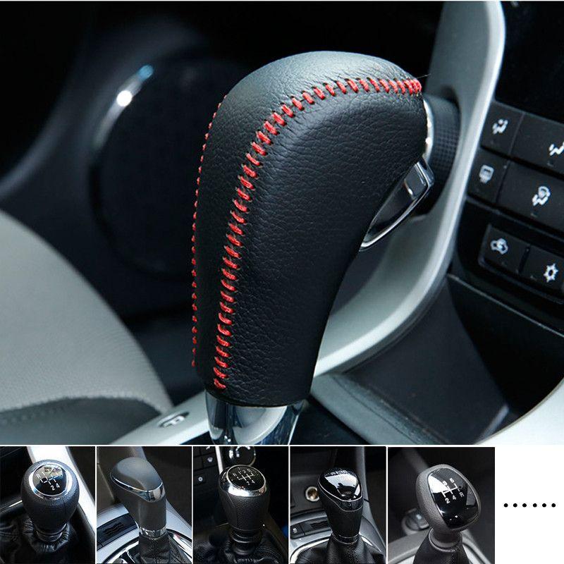 Car Genuine Leather Gear Shift Collars Gear Shift Knob Cover For Chevrolet Cruze Malibu Captiva New Sail Aveo Lova car styling