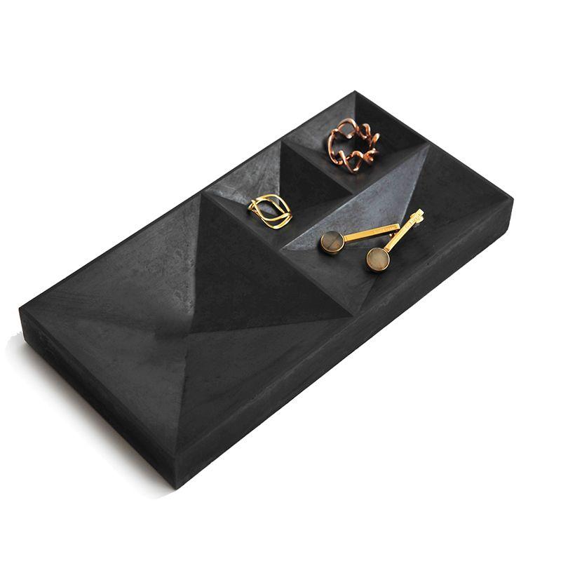 Cement inverted square cone adornment tray fair concrete Black Jewelry display plate jewellery prop tray silicone mold