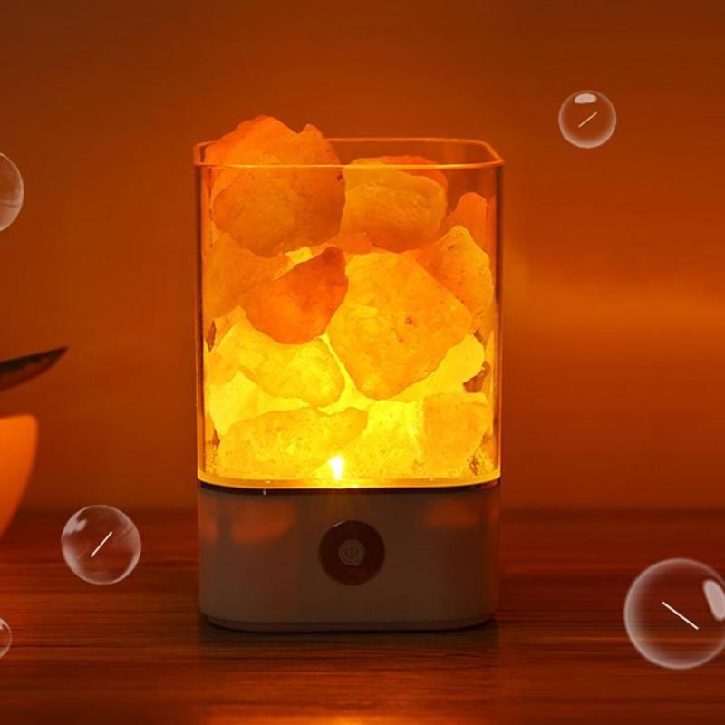 USB Cristal Lumière Naturel Himalaya Lampe De Sel Purificateur D'air Mood Créateur Chambre Décoration De Chevet Lampe Enfants De Lumière De Nuit