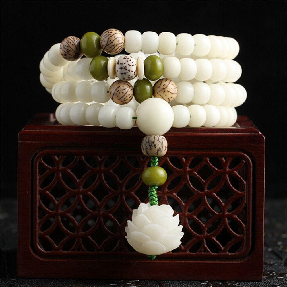 Original Design Natural White Bodhi Root Beads Bracelet 108 Lotus Mala for Women Yoga Meditation Balancing Jewelry Gift for Her