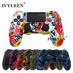 IVYUEEN 19 Colors Silicone Camo Protective Skin Case For Sony Dualshock 4 PS4 DS4 Pro Slim Controller Thumb Sticks Grips Caps