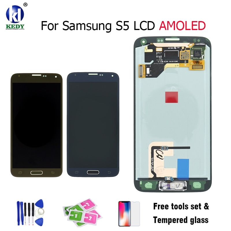 SUPER AMOLED HD LCD Display With Touch Screen Digitizer Assembly Home Button Flex For Samsung S5 lcd SM-G900 SM-G900F G900 I9600