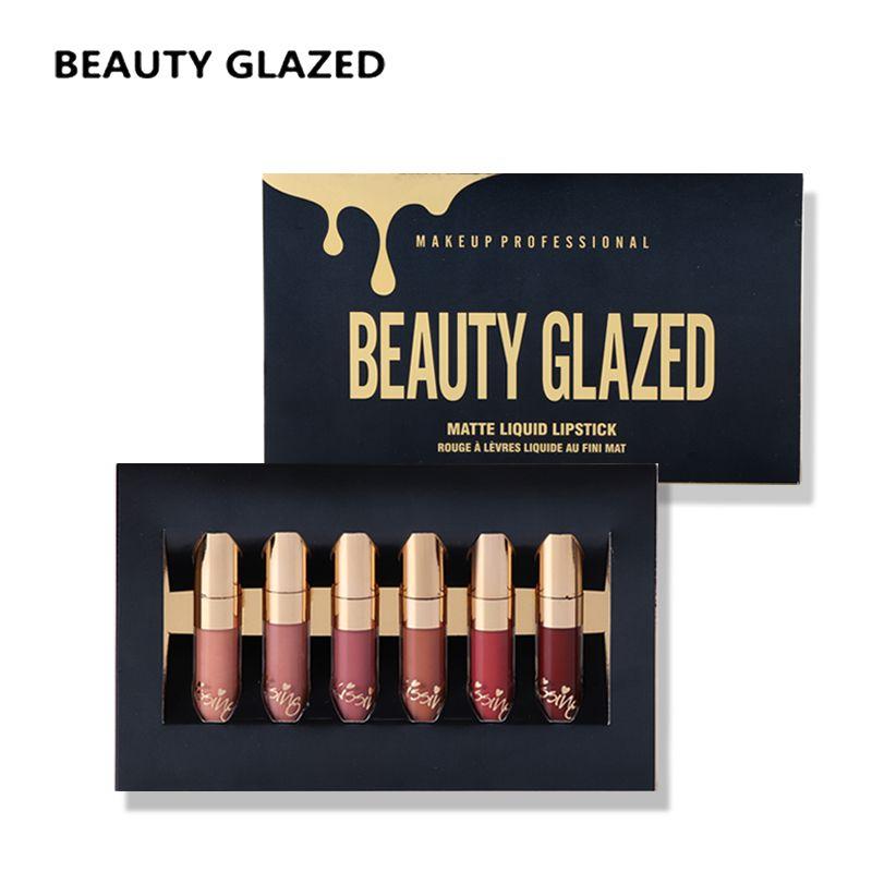 Makeup set Lipstick lip balm Lip Gloss batom matte maquillage lipstick Long lasting Waterproof 6 Color Lipstick Set BEAUTY GLAZE