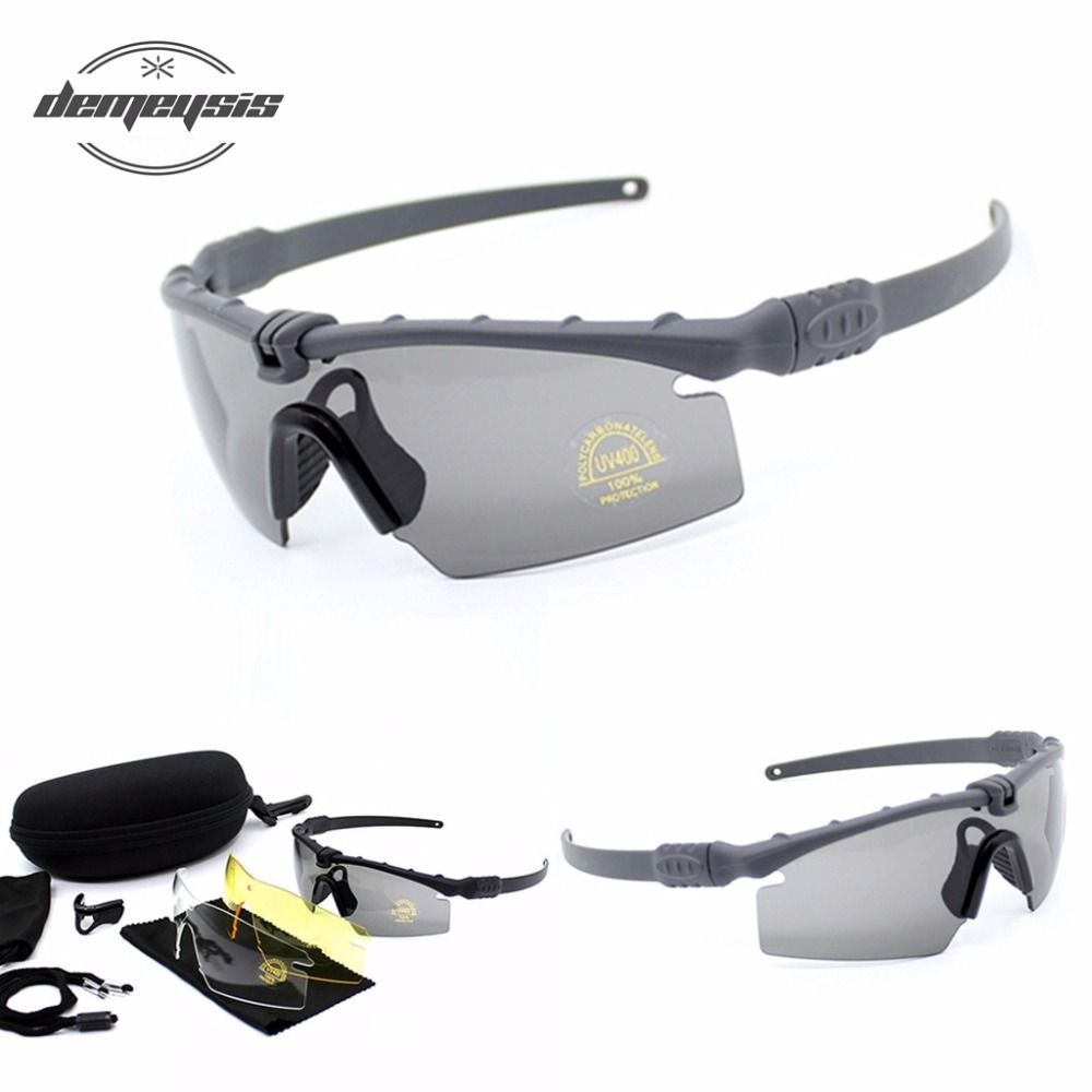Tactical Glasses Army Sunglasses 3lens Shooting Glasses Airsoft Goggles 4 Lens UV 400 bulletproof Hiking Eyewear
