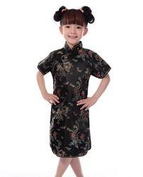 Shanghai Histoire La Russie vente Chaude Chinois Kid Enfant Fille Dragon Cheongsam Robe filles Qipao Faux Soie Vêtements livraison gratuite