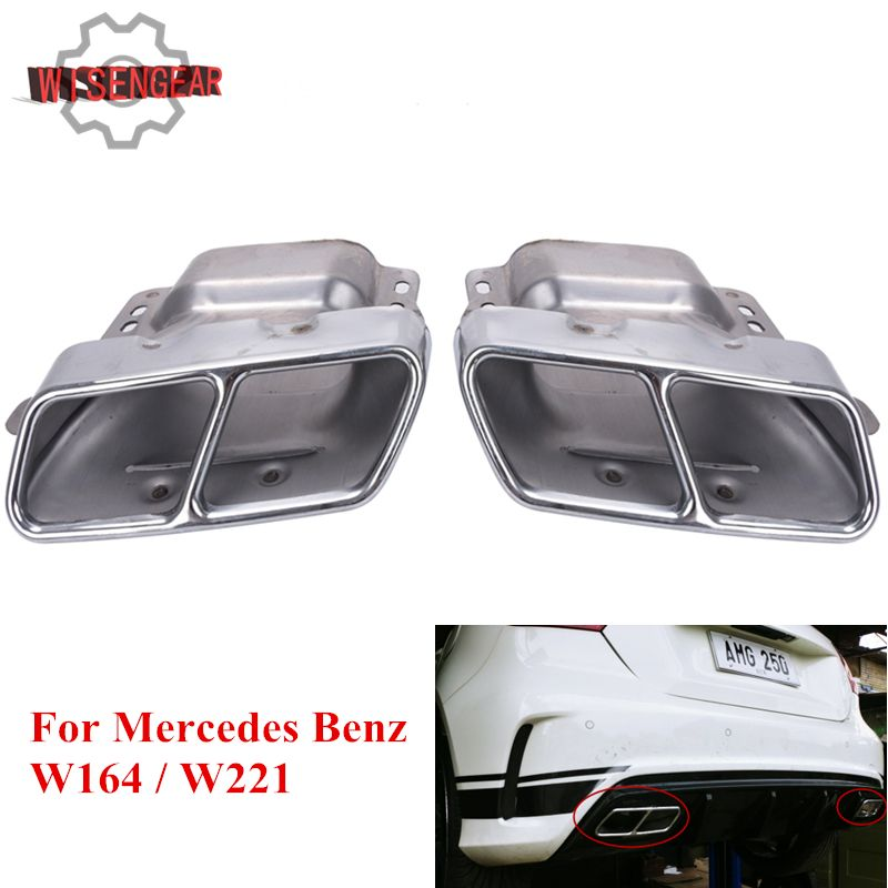 2X Stainless Steel Twin Tail Pipe Exhaust Muffler For Mercedes Benz W164 W221 S300 S350 S500 W166 W251 W216 S CLA ML Class #P387