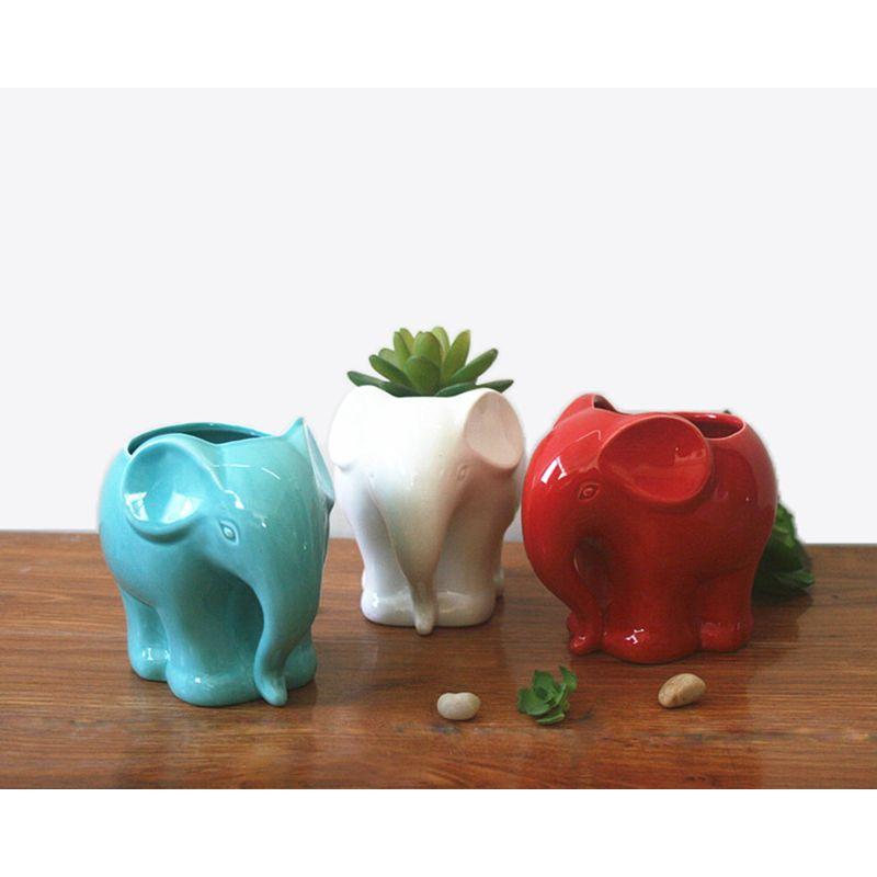 1 pc minimaliste éléphant blanc en céramique planteur pour succulentes décoratif succulentes Pot Mini Pot de fleur maison jardin décoration
