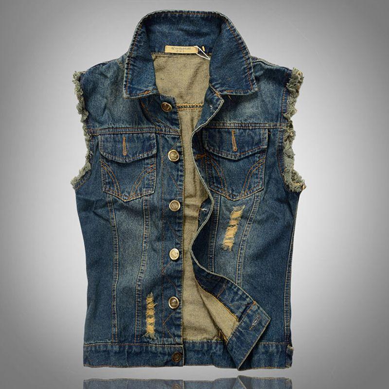 FREE SHIPPING Colete Vest men jeans Plus size 5XL-M Hot sale New 2014 Spring-autumn man denim vest waistcoat colete masculino