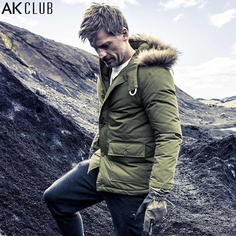 AK CLUB Brand Men Down Jacket 80% Grey Duck Down Content Northern Europe Polar Snow Parka Raccoon Fur Military Down Coat 1711031