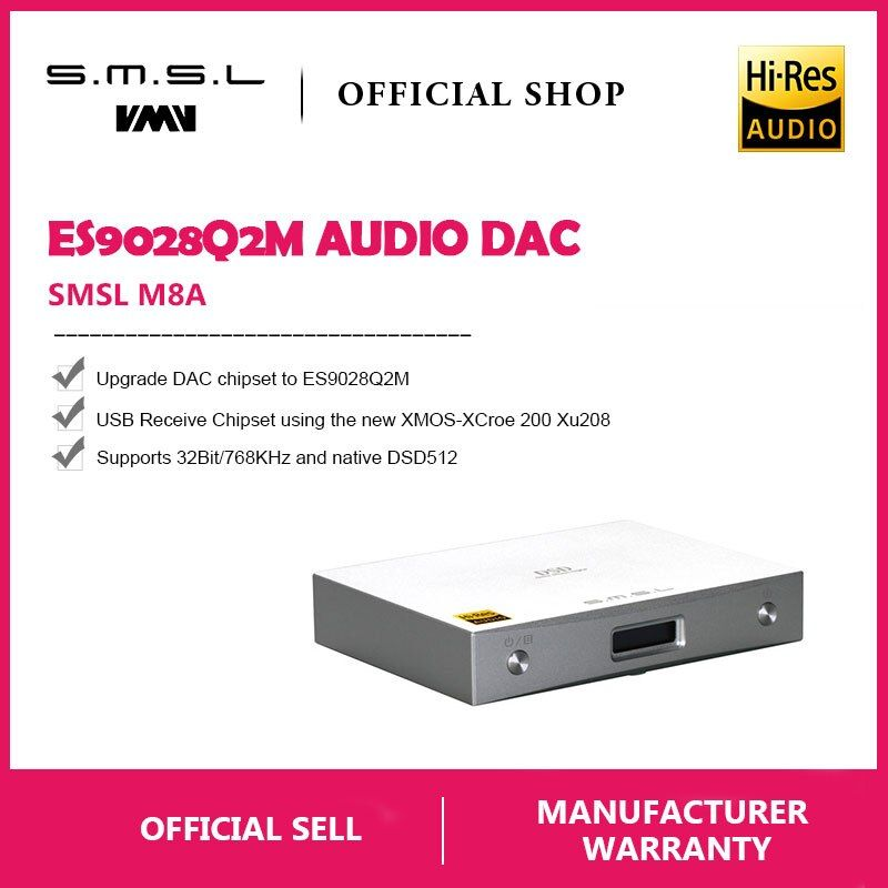 New SMSL M8A Native DSD512 HIFI Decoder Support DOP DAC ES9038 PCM768kHz Micro USB Amplifier Optical Coaxial Input RCA Output