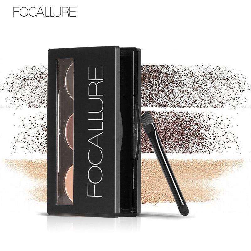 Focallure Augenbraue Pulver 3 Farben augenbraue Pulver Palette Wasserdicht und Wisch Beweis Mit Spiegel und Augenbraue Pinsel Innen