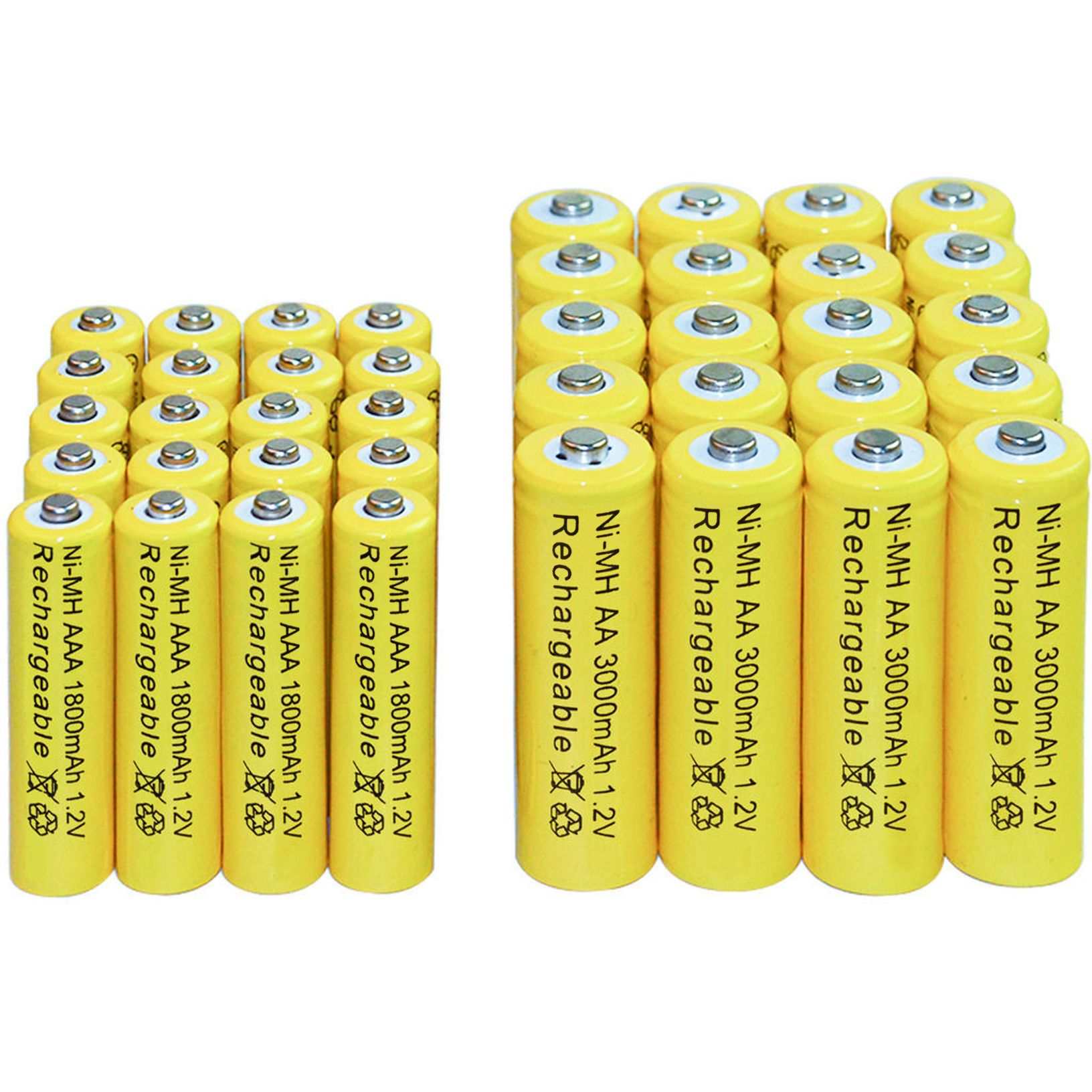 4/10/16/20/24/30/40 pièces AA 3000 mAh + AAA 1800 mAh 1.2 v Ni-MH batterie rechargeable portable jaune Livraison gratuite torche led Jouets RC